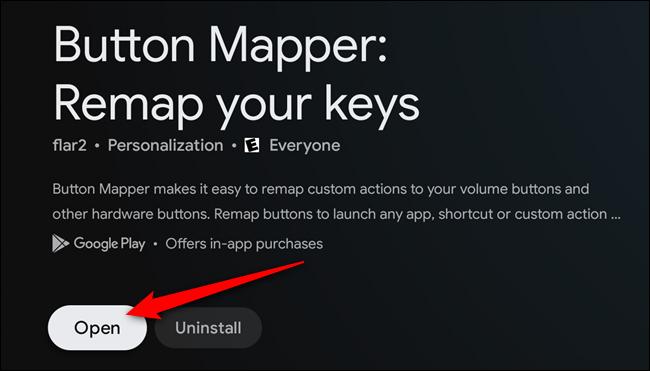 """Seleccione el botón """"Abrir"""" una vez que la aplicación Button Mapper esté instalada"""