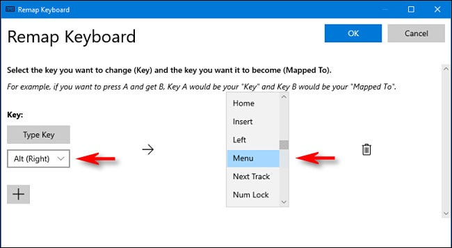 """Click the drop-down arrow and select the key, and then select """"Menu"""" from the """"Mapped To"""" drop-down."""