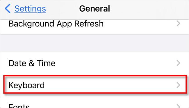 """In Settings on iPhone or iPad, tap """"Keyboard."""""""