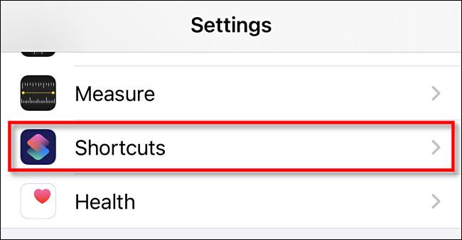 """Tap """"Shortcuts."""""""