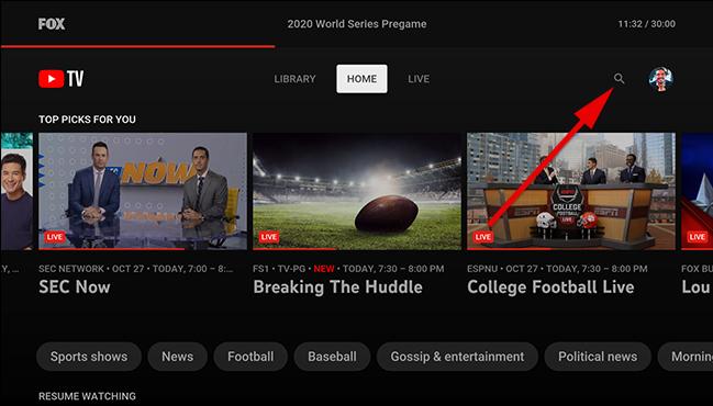 Na tela inicial do YouTube TV, selecione o ícone de pesquisa.