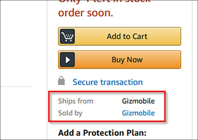 "A product listing on Amazon that ""Ships From Gizmobile"" and is ""Sold By Gizmobile."""