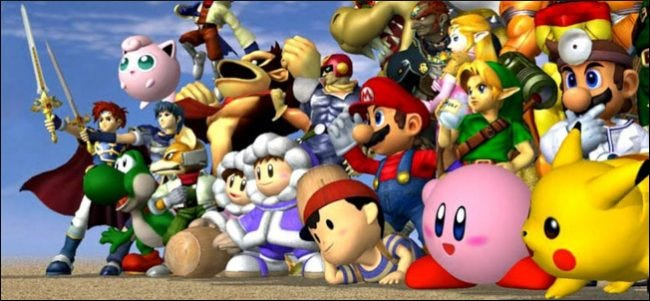 A crop from an official render of the Super Smash Bros. Melee roster.