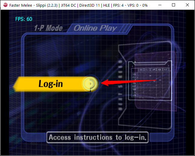 Press A on your GameCube controller or emulated equivalent to log in to Slippi.