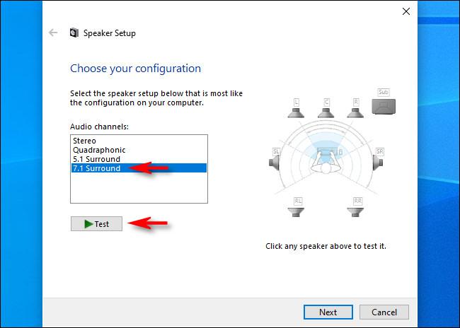 """Em Configuração de alto-falante para Windows 10, selecione os canais de áudio e clique em """"Testar""""."""