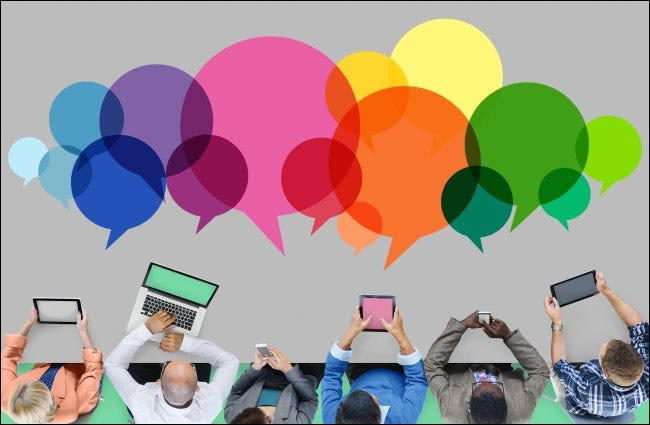 People using electronic devices with speech bubbles representing online communication.