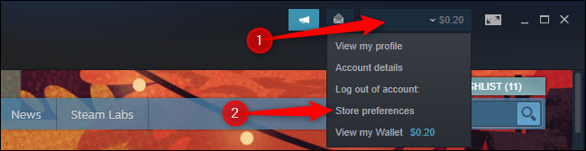 """Haz clic en """"Preferencias de la tienda"""" en el menú del perfil de Steam."""