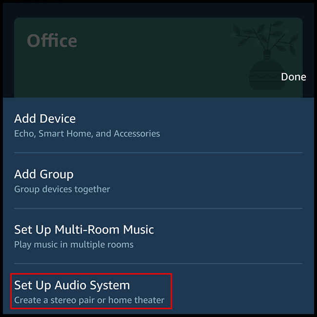 "Select ""Set Up Audio System"" in the popup window."