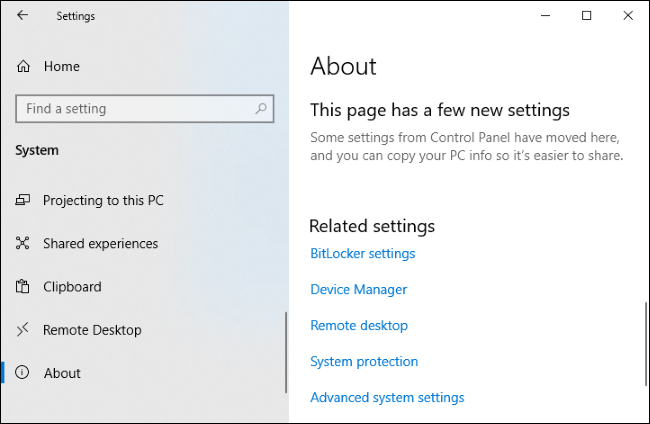 The About page in Windows 10's Settings app showing related settings links