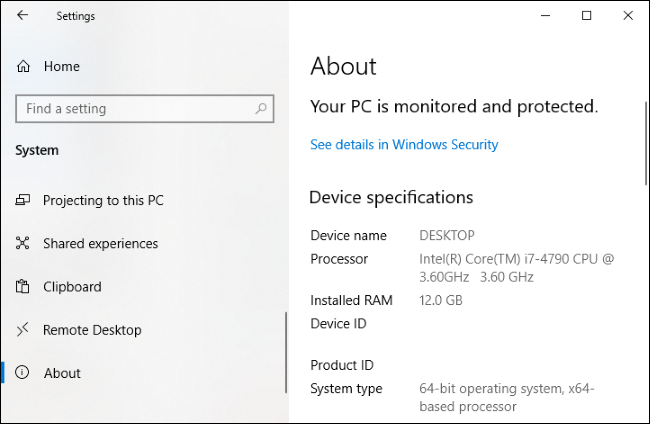 The Settings > System > About page showing device hardware specifications