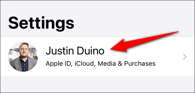 Tap on your Apple ID listing