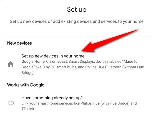 "Tap the ""Set Up New Devices In Your Home"" button"