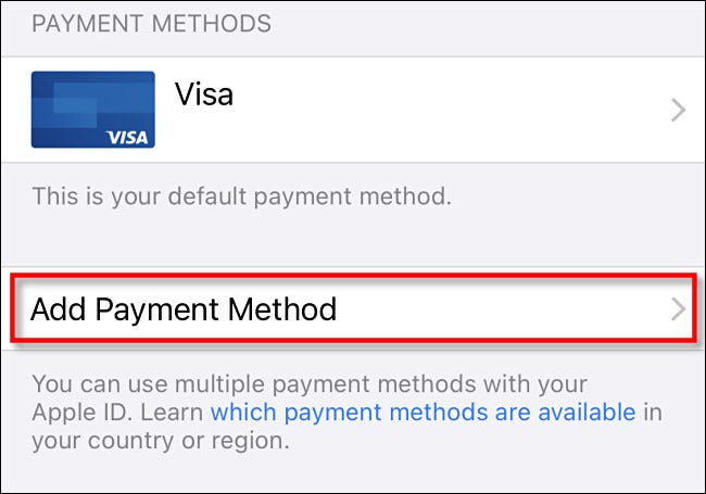 """Tap """"Payment Method"""""""