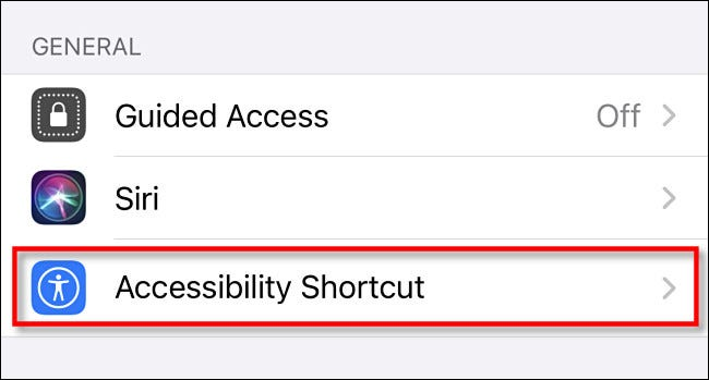 """In Accessibility settings on iPhone, tap """"Accessibility Shortcut."""""""