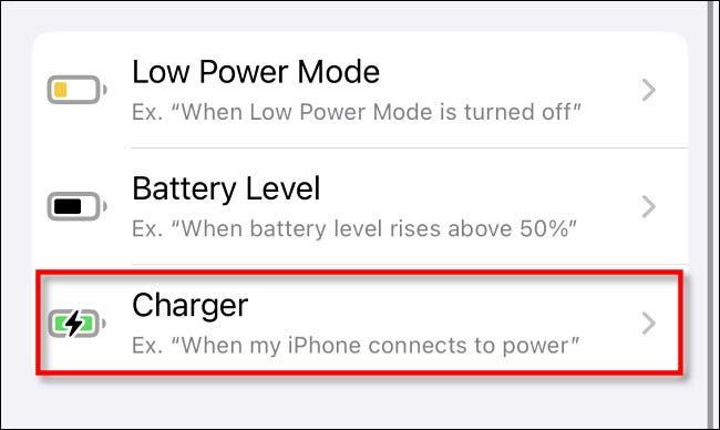 "Tap ""Charger."""