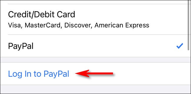 """Tap """"Log in to PayPal"""""""