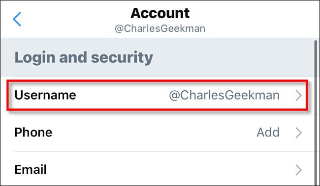 "In Twitter settings, tap ""Username."""