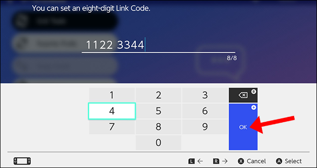 """Press the A button to select """"OK"""" and confirm your eight-digit code."""