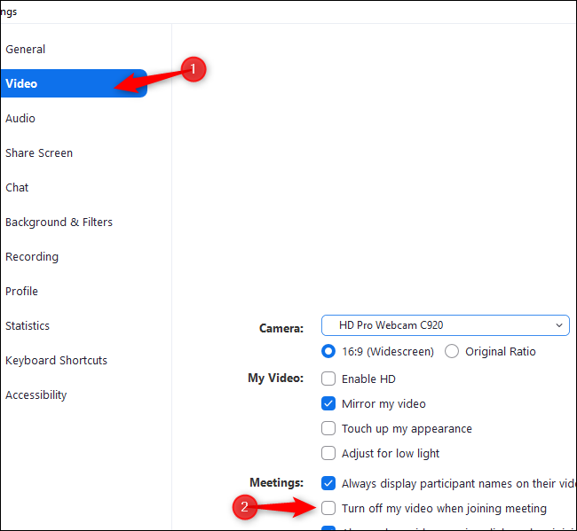 """Click """"Video"""" and select """"Turn off my video when joining a meeting"""" in Zoom settings"""
