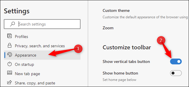 """Click """"Appearance"""" and enable """"Show vertical tabs button"""""""