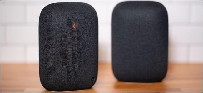 Two Google Nest Audio speakers.