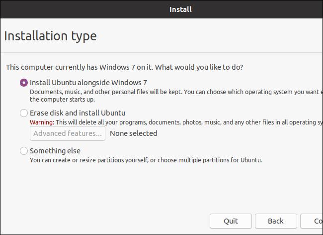 Choosing an installation type while installing Ubuntu