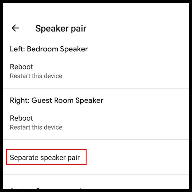 Select Separate Speaker Pair
