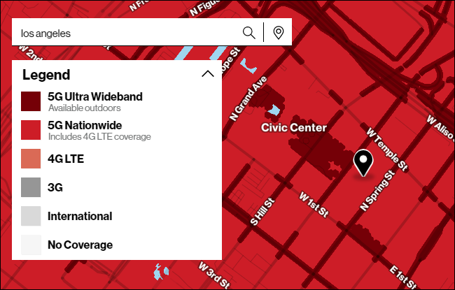 Verizon's map of 5G coverage in Los Angeles