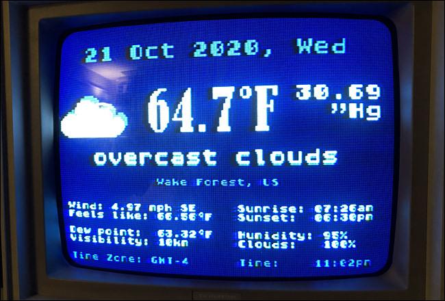 The Weather.xex status screen on an Atari 800XL.