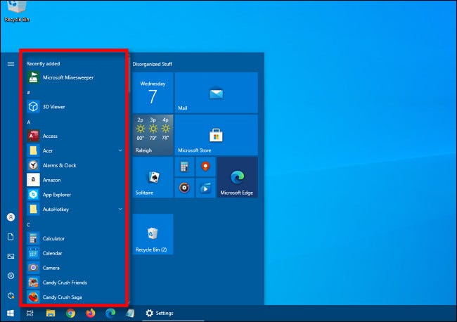 An example of a Windows 10 Start menu with the app list.