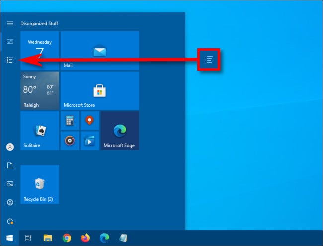 In the Windows 10 Start menu, click the App List button.