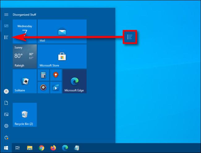 In the Windows 10 Start menu, click the App List button.