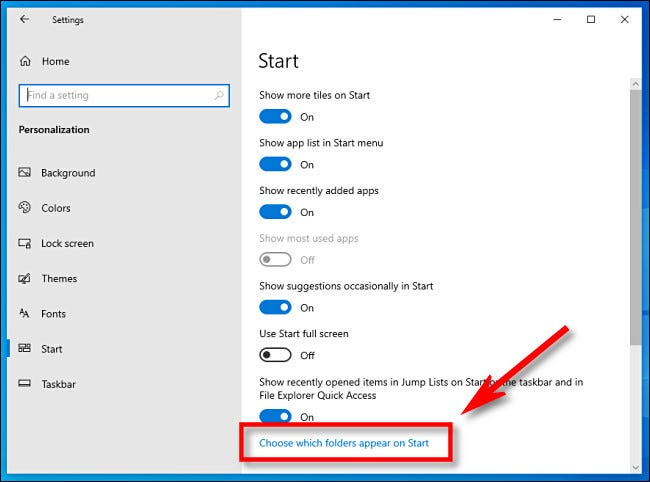 "In Windows Settings, click ""Choose which folders appear on Start."""