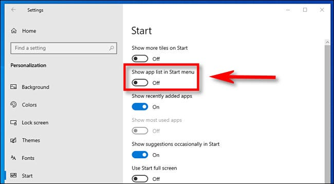 """In Windows 10 Settings, click the """"Show app list in Start menu"""" switch to turn it off."""