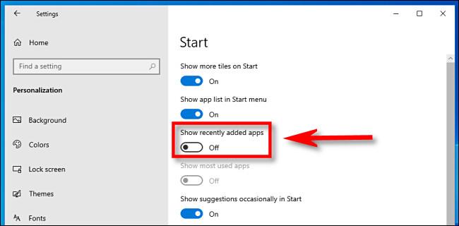 """Nas configurações do Windows 10, clique no botão """"Mostrar aplicativos adicionados recentemente"""" para desligá-lo."""