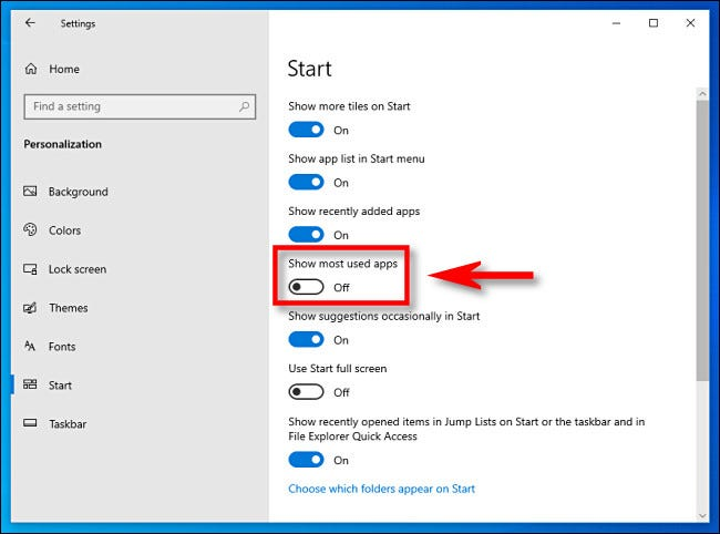 """In Windows 10 Settings, click the """"Show most used apps"""" switch to turn it off"""