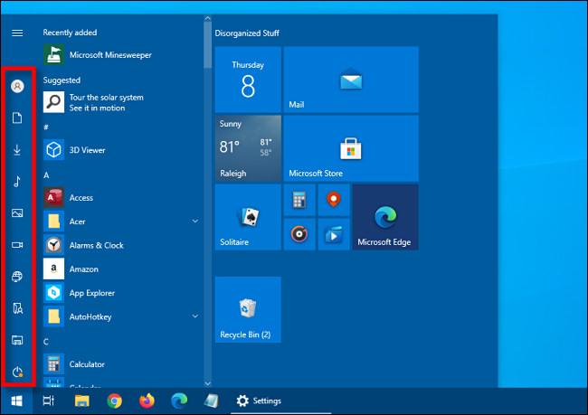 A barra lateral de atalho recolhida no menu Iniciar do Windows 10