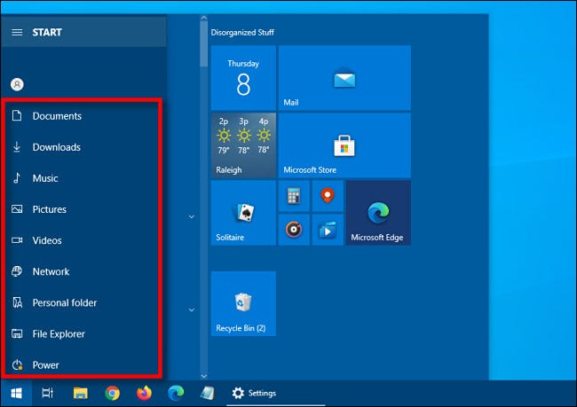 The expanded shortcut sidebar in the Windows 10 Start menu