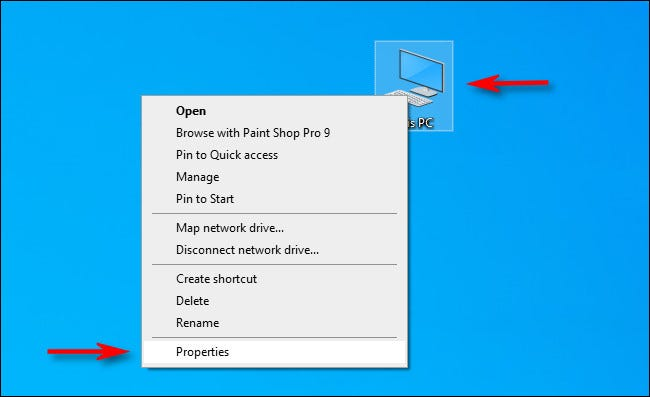 """Right-click the """"This PC"""" icon on your desktop and select """"Properties."""""""