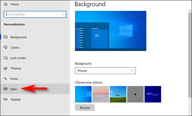 """In Windows 10 Settings, click """"Start"""" in the sidebar."""
