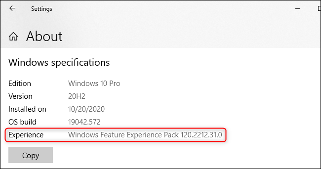 """The """"Windows Feature Experience Pack"""" displayed on Windows 10's About screen"""