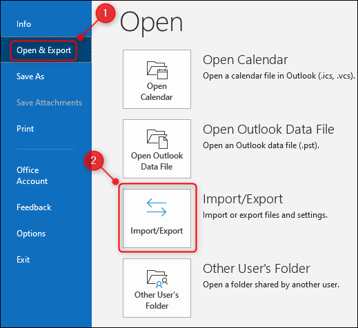 """Outlook's """"Import/Export"""" option."""