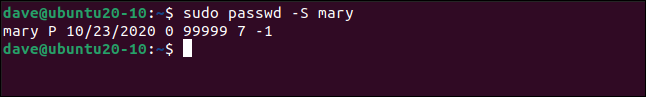 Output from sudo passwd -S mary in a terminal window.