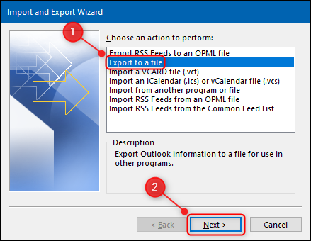 """Outlook's """"Export to a file"""" option."""