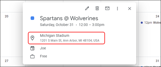 An address in a Google Calendar event.