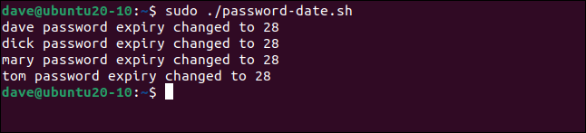 Four user accounts with password expiry values changed to 28 in a terminal window.