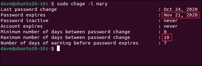 sudo chage -l mary in a terminal window.
