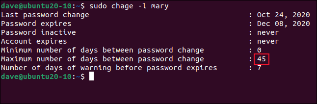 sudo change -l mary in a terminal window.