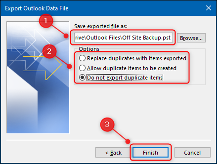 The export options for the file being exported to.