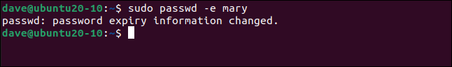 Output from sudo passwd -e mary in a terminal window.